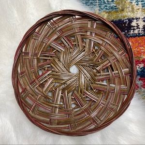 "Vintage Flat 10"" Wicker Basket Tray Wall Art"
